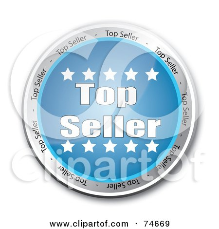 Royalty-Free (RF) Clipart Illustration of a Reflective Blue Top Seller Service Button by MacX
