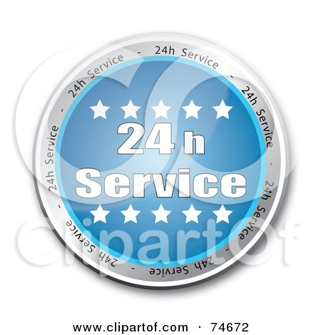 Royalty-Free (RF) Clipart Illustration of a Reflective Blue 24 H Service Button by MacX