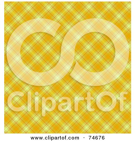 Royalty-Free (RF) Clipart Illustration of a Yellow And Orange Diagonal Plaid Background by MacX
