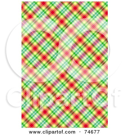 Royalty-Free (RF) Clipart Illustration of a Red, Yellow, Green And Pink Diagonal Plaid Background by MacX