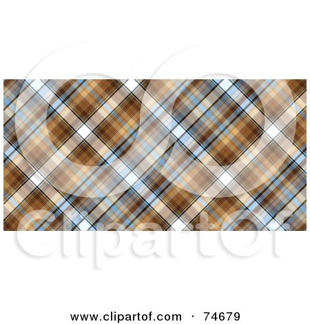 Royalty-Free (RF) Clipart Illustration of a Blue And Brown Diagonal Plaid Background by MacX