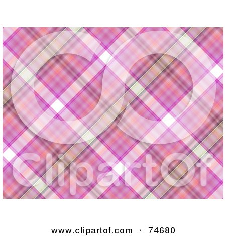 Royalty-Free (RF) Clipart Illustration of a Pink And Purple Diagonal Plaid Background by MacX