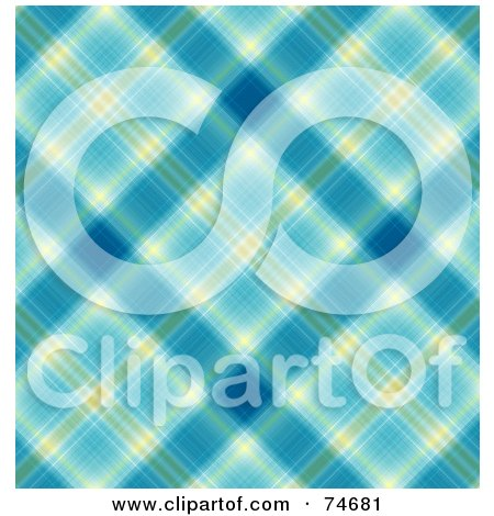 Royalty-Free (RF) Clipart Illustration of a Blue And Yellow Diagonal Plaid Background by MacX