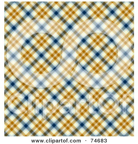 Royalty-Free (RF) Clipart Illustration of a Blue, Orange And White Diagonal Plaid Background by MacX