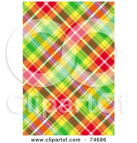 Royalty-Free (RF) Clipart Illustration of a Colorful Diagonal Plaid Background by MacX