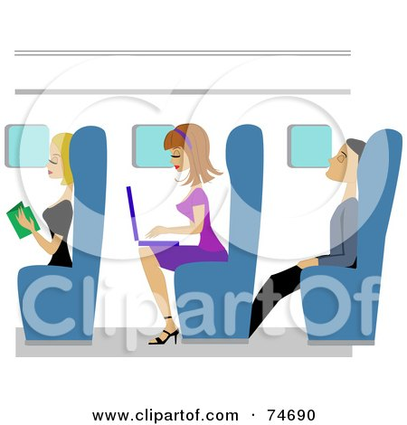 Royalty-Free (RF) Clipart Illustration of Men And Women Reading, Using A Laptop And Napping On A Plane by peachidesigns
