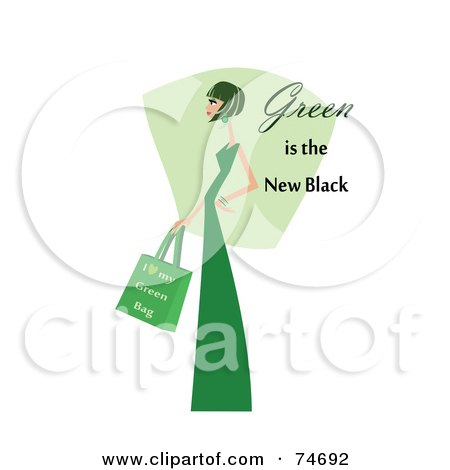 Royalty-Free (RF) Clipart Illustration of a Woman In Green, With Green Is The New Black Text by peachidesigns