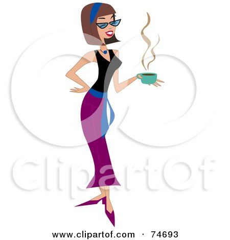 Royalty-Free (RF) Clipart Illustration of a Brunette Woman Walking And Carrying A Cup Of Coffee by peachidesigns