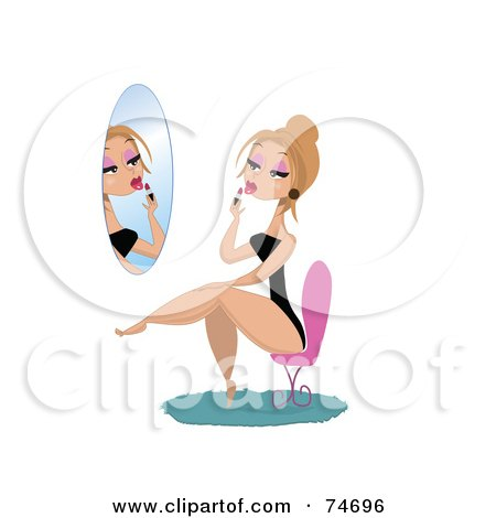 Royalty-Free (RF) Clipart Illustration of a Sexy Blond Woman Sitting In A Chair And Applying Lipstick by peachidesigns