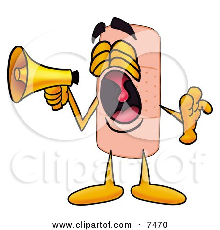 Clipart Picture of a Bandaid Bandage Mascot Cartoon Character Screaming Into a Megaphone by Toons4Biz
