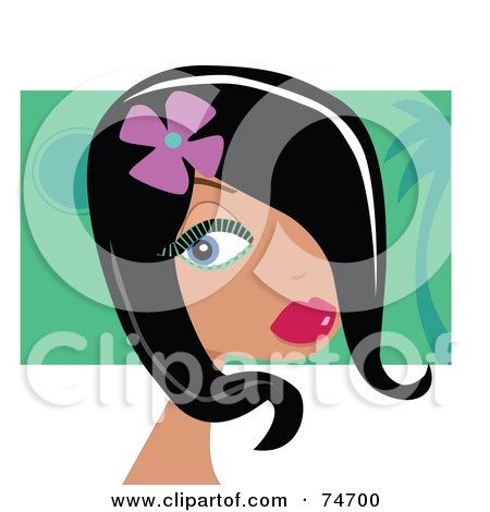 Royalty-Free (RF) Clipart Illustration of a Beautiful Black Haired Woman With A Flower In Her Hair, Wearing Green Mascara by peachidesigns