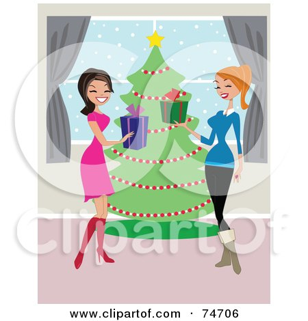 Royalty-Free (RF) Clipart Illustration of Two Women Laughing And Exchanging Christmas Presents In Front Of A Tree  by peachidesigns