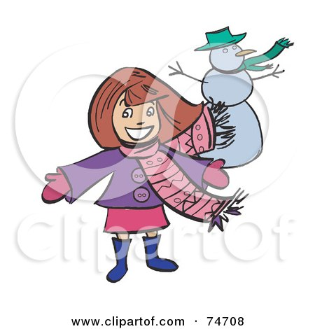 Royalty-Free (RF) Clipart Illustration of a Happy Girl Presenting Her Snowman by peachidesigns