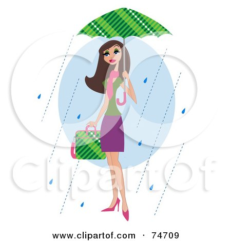 Royalty-Free (RF) Clipart Illustration of a Stylish Brunette Woman Carrying A Bag And Walking In The Rain Under An Umbrella by peachidesigns