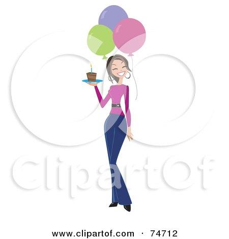 royalty free rf clipart illustration of a happy birthday woman rh clipartof com birthday clipart for female Birthday Clip Art for Women for Fall