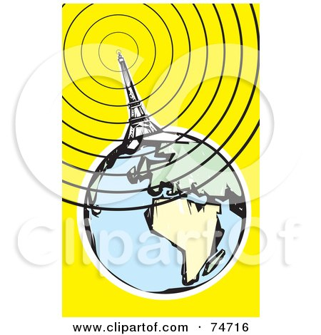 Royalty-Free (RF) Clipart Illustration of a Communications Tower, Eiffel Tower, Sending Out Signals Around The Globe by xunantunich