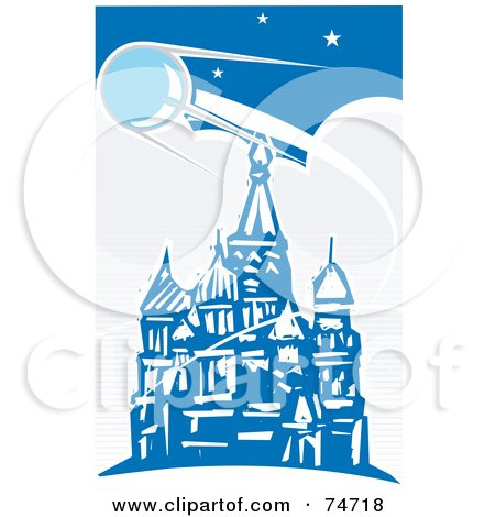 Royalty-Free (RF) Clipart Illustration of a Blue Scene Of Sputnik Passing Over The Red Square, Retro Style by xunantunich