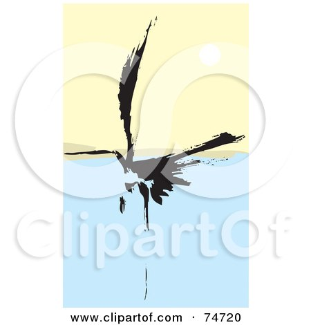 Royalty-Free (RF) Clipart Illustration of a Black Abstract Crane Landing On Water by xunantunich