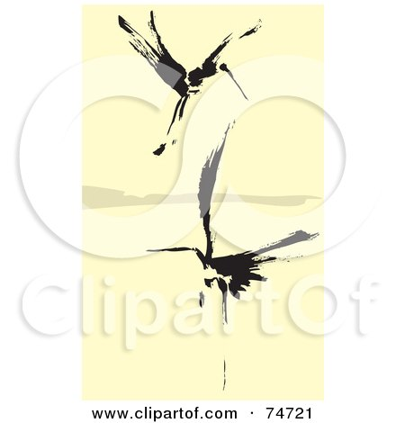 Royalty-Free (RF) Clipart Illustration of Two Black Abstract Cranes Flying Over Water by xunantunich