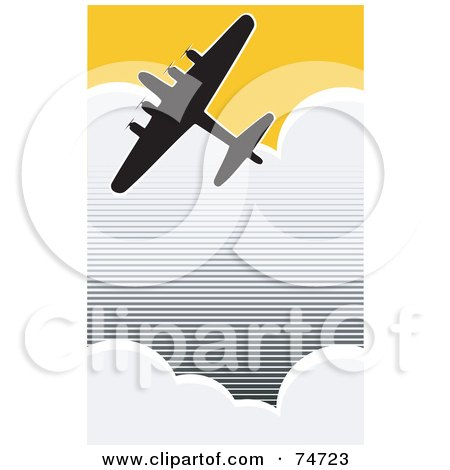 Royalty-Free (RF) Clipart Illustration of a Silhouetted World War II  Bomber Flying Through Clouds In A Yellow Sky by xunantunich