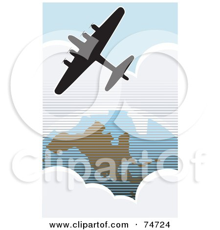 Royalty-Free (RF) Clipart Illustration of a Silhouetted American Bomber Aircraft Flying Over The USA by xunantunich