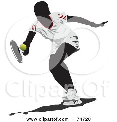 Royalty-Free (RF) Clipart Illustration of a Silhouetted Woman Reaching For A Tennis Ball by leonid