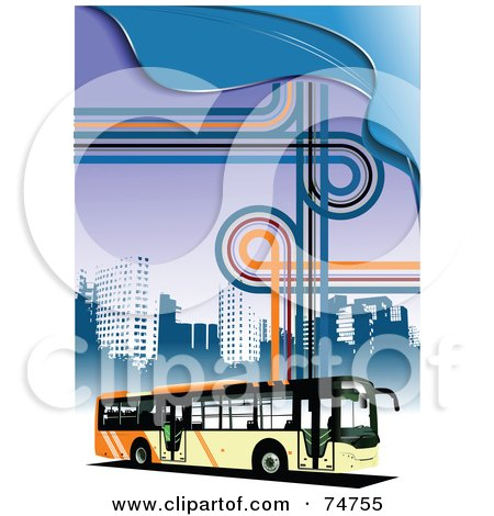 Royalty-Free (RF) Clipart Illustration of a City Bus Driving By Skyscrapers On A Funky Background Of Lines And Waves by leonid