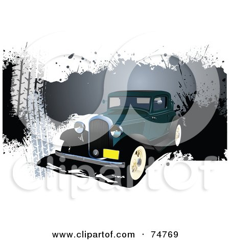 Royalty-Free (RF) Clipart Illustration of a Vintage Teal Automobile Over Splattered Grunge On White by leonid