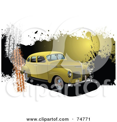 Royalty-Free (RF) Clipart Illustration of a Vintage Yellow Automobile Over Grunge Splatters And Tire Marks On White by leonid