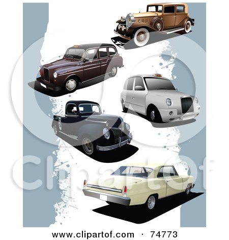 Royalty-Free (RF) Clipart Illustration of a Digital Collage Of Retro Trucks And Cars On A Blue And White Grunge Background by leonid