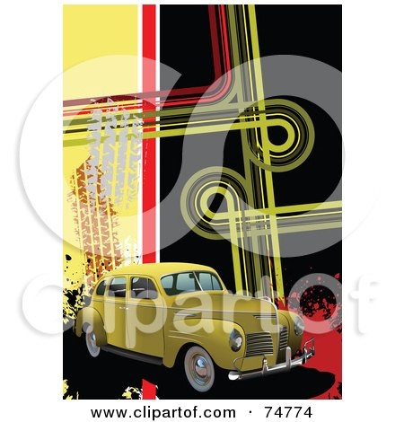 Royalty-Free (RF) Clipart Illustration of a Vintage Yellow Automobile With Skid Marks And Funky Lines With Splatters by leonid