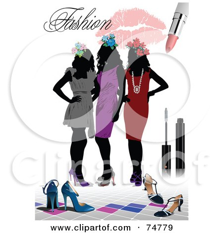 Royalty-Free (RF) Clipart Illustration of a Fashion Background Of Three Silhouetted Women In Dresses, With Shoes And Makeup Over White by leonid