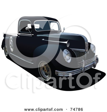 Royalty-Free (RF) Clipart Illustration of a Black Vintage Pickup Truck by leonid