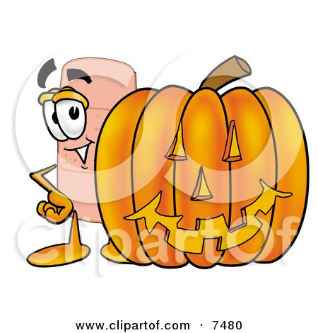 Clipart Picture of a Bandaid Bandage Mascot Cartoon Character With a Carved Halloween Pumpkin by Toons4Biz
