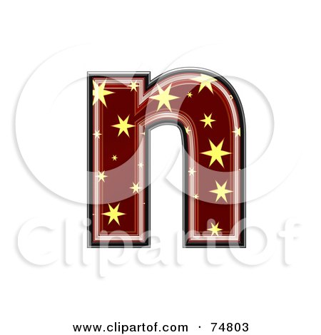 Royalty-Free (RF) Clipart Illustration of a Starry Symbol; Lowercase Letter n by chrisroll