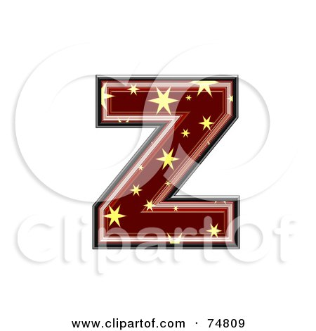 Royalty-Free (RF) Clipart Illustration of a Starry Symbol; Lowercase Letter z by chrisroll