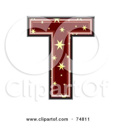 Royalty-Free (RF) Clipart Illustration of a Starry Symbol; Capital Letter T by chrisroll