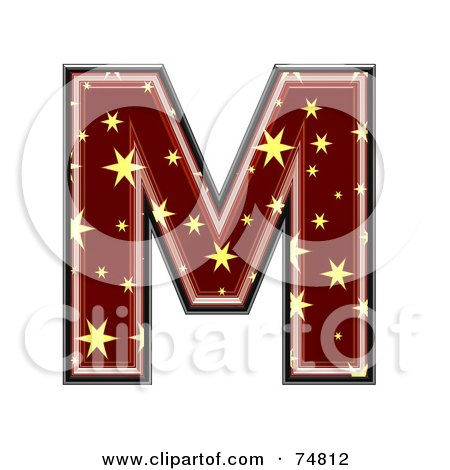 Royalty-Free (RF) Clipart Illustration of a Starry Symbol; Capital Letter M by chrisroll