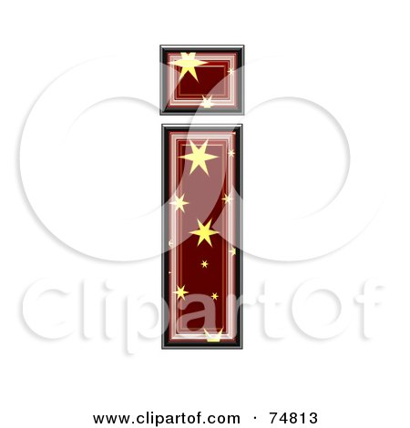 Royalty-Free (RF) Clipart Illustration of a Starry Symbol; Lowercase Letter i by chrisroll