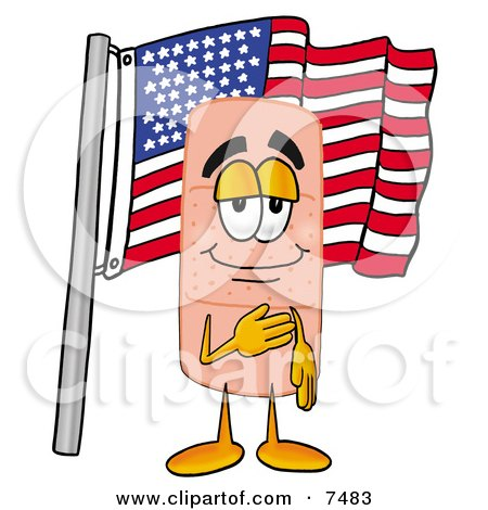 Clipart Picture of a Bandaid Bandage Mascot Cartoon Character Pledging Allegiance to an American Flag by Toons4Biz