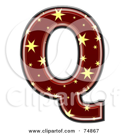 Royalty-Free (RF) Clipart Illustration of a Starry Symbol; Capital Letter Q by chrisroll