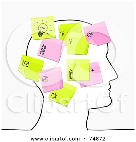Royalty-Free (RF) Clipart Illustration of a Sketched Head With Pink And Yellow Sticky Note Thoughts by NL shop