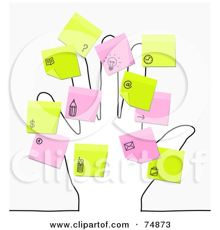 Royalty-Free (RF) Clipart Illustration of a Sketched Hand With Pink And Yellow Sticky Note Reminders by NL shop