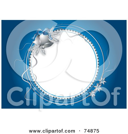 Royalty-Free (RF) Clipart Illustration of a Blue Christmas Or Bridal Background With Silver Flowers And Bells Around A White Circle by MilsiArt