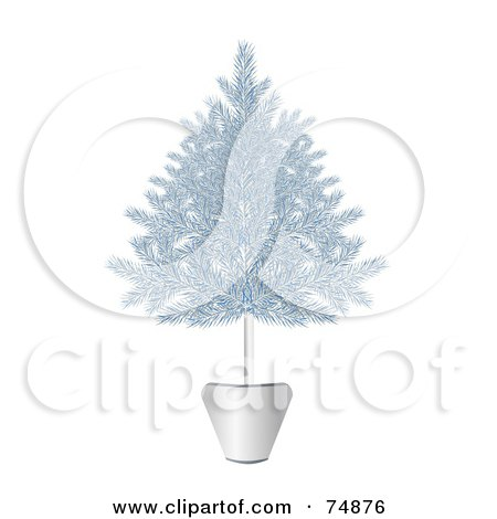 Royalty-Free (RF) Clipart Illustration of a Blue And Silver Potted Christmas Tree by MilsiArt