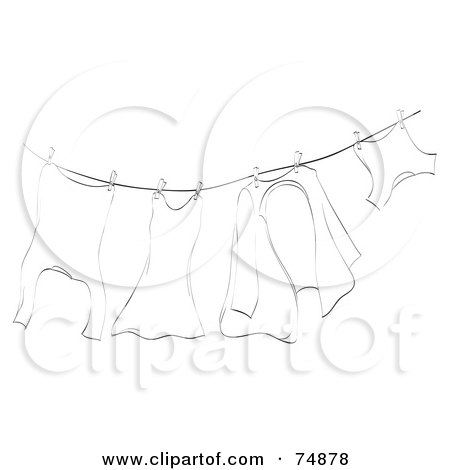 Royalty-Free (RF) Clipart Illustration of a Black And White Sketch Of Laundry Hung Out To Dry On A Clothes Line by MilsiArt