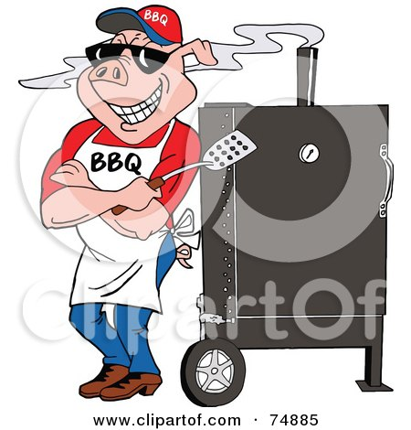 Royalty-Free (RF) Clipart Illustration of a Bbq Pig Standing Against A Smoker by LaffToon