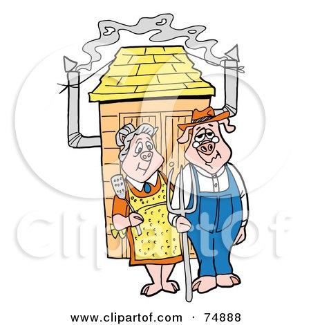 Royalty-Free (RF) Clipart Illustration of a Farmer Pig Couple Standing Outside A Smoker by LaffToon