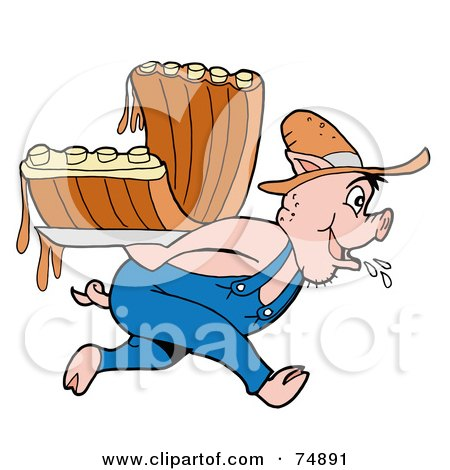 Royalty-Free (RF) Clipart Illustration of a Farmer Pig Carrying Bbq Ribs by LaffToon