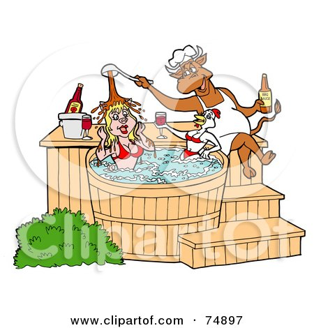 Royalty-Free (RF) Clipart Illustration of a Chef Bull Pouring Bbq Sauce On A Female Pig And Chicken In A Hot Tub by LaffToon